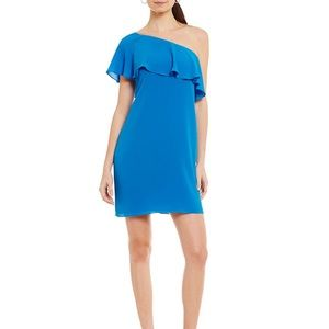NWT Maggy London One Shoulder Ruffle Shift Dress